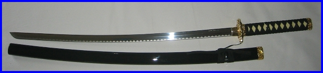 "Wakizashi Shoto  27"" Black Stainless Decorative Sword"
