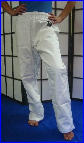 Trousers - White Elasticated 3/160