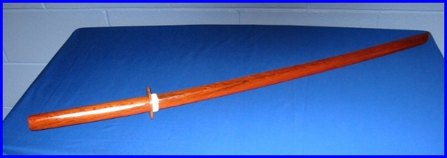 Bokken Std Red Stained with Tsuba 40 inch