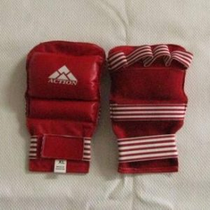 Gloves Fingerless Sparring Leather Red L
