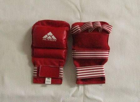 Gloves Fingerless Sparring Leather Red XL
